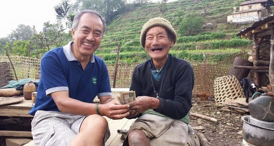 Gurkha veteran Sukbir Tamang receiving an emergency hardship grant