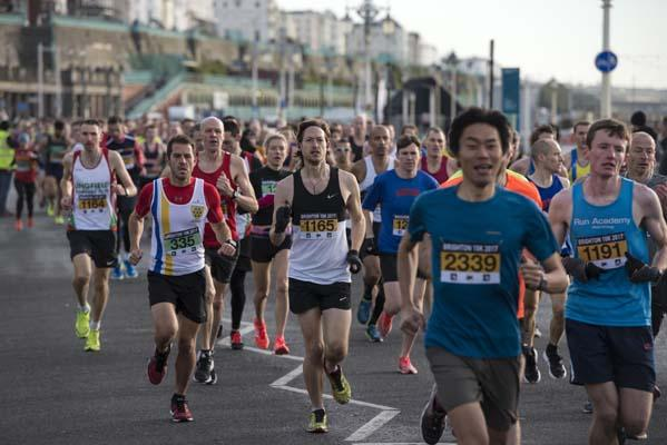 Group of people running in the brighton marathon 10km 10k