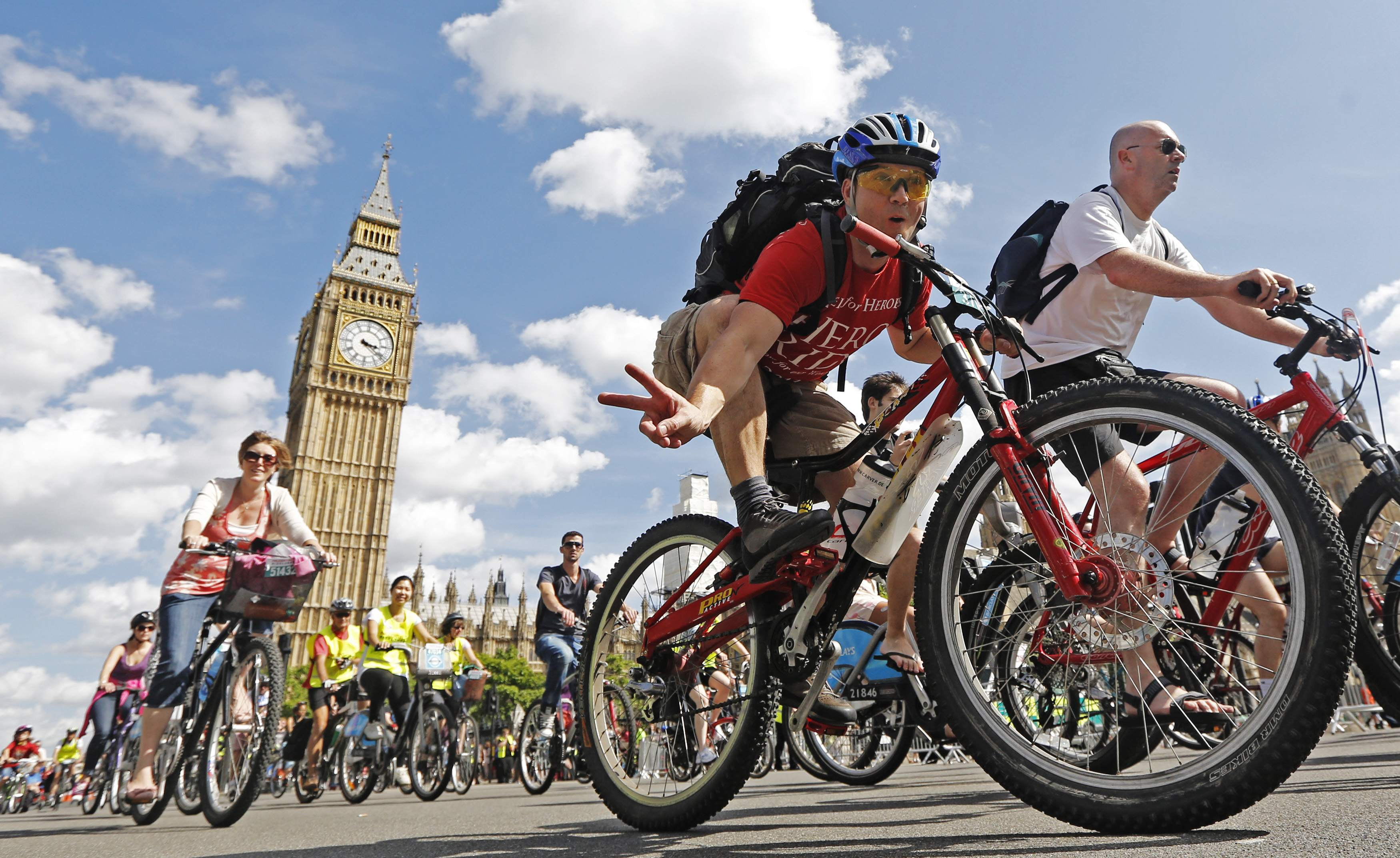 prudential ride Cyclists of all ages ride past the Houses of Parliament during the Prudential RideLondon FreeCycle ride in central London